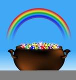 Rainbow and pot of gems Stock Photos