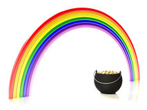 Rainbow and pot of gold. Isolated on white background vector illustration