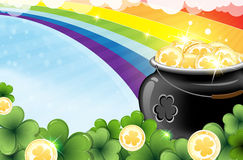 Rainbow and pot with gold Stock Photography