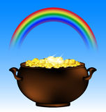 Rainbow and pot of gold Royalty Free Stock Photography