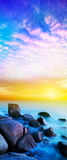 Rainbow Prime planet. Fantasy seascape. Vertical panoramic composition Stock Images