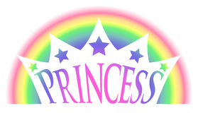 Rainbow Princess Crown. Princess crown against a rainbow background Royalty Free Stock Images
