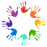 Rainbow Prints Of Children Hands In The Circle. Stock Photo