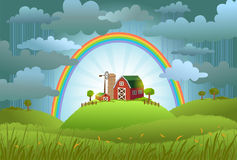 The rainbow protects the small farm. From a rain and bad weather. conceptual illustration Royalty Free Stock Photo