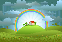 The rainbow protects the small house. From a rain and bad weather. conceptual illustration Stock Images