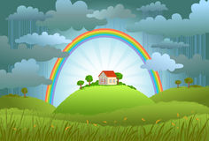 The rainbow protects the small house. From a rain and bad weather. conceptual illustration Royalty Free Stock Photo