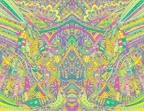 Rainbow psychedelic colorful symmetrical  pattern. Fantasy abstract decorative texture with doodle maze of ornaments. Vector hand vector illustration