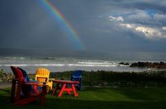 Rainbow a punto bianco Fotografia Stock