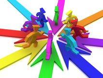 Rainbow puppets on arrows Stock Photography