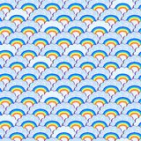Rainbow and Purple Clouds Seamless Pattern Royalty Free Stock Photography
