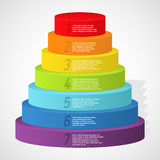Rainbow pyramid with numbers. Vector illustration Royalty Free Stock Photo