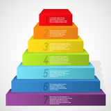 Rainbow pyramid with numbers. Vector illustration Royalty Free Stock Photos