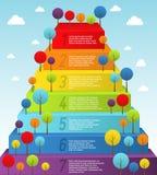 Rainbow pyramid with trees Stock Photo