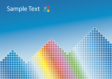 Rainbow pyramids background. Vector illustration of a colorful rainbow with squared patterns and pyramids. Blue gradient background. Sample logo at the top Royalty Free Stock Photo