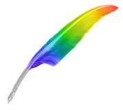 A rainbow quill isolated on white Stock Image