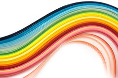 Rainbow quilling paper strips royalty free stock photo