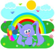 Rainbow  and rabbit Royalty Free Stock Image