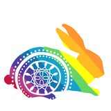 Rainbow rabbit with ornament Royalty Free Stock Images
