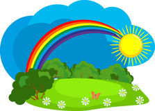 Rainbow after the rain. Summer day, the nature of the rainbow in the sky and the sun vector illustration
