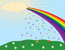 Rainbow rain. An illustration of rainbow colored rain falling from the rainbow and coloring the flowers. EPS8 vector file also available Royalty Free Stock Photography