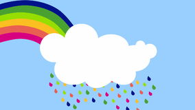 Rainbow rain cloud animation loop stock video footage