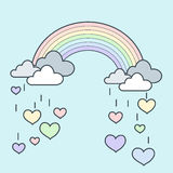 Rainbow Rain Heart. Illustration of pastel rainbow with falling heart Royalty Free Stock Images
