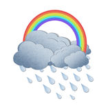 Rainbow with rain on white background Royalty Free Stock Images