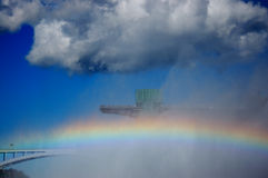 Rainbow and rainbow bridge. By niagara falls between canada and united states Stock Photos