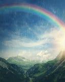 Rainbow at the rainy day. Sun and rainbow at the rainy day Stock Image