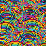 Rainbow ray seamless pattern. This illustration is design and drawing rainbow with ray line decoration colorful in seamless pattern Royalty Free Stock Image