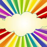 Rainbow Rays around a Cloud. Colorful rainbow ray appearing around a cloud frame. Rainbow swirl colors. Great day and hope concept Stock Photos