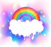 Rainbow with rays. Symbol of LGBT community. Gay Pride. Isolated stock image