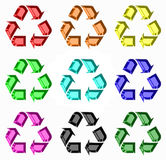 Rainbow of Recycling Symbols Royalty Free Stock Photos
