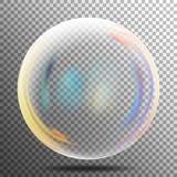 Rainbow Reflection Soap Bubble. Big Transparent Glass Rainbow Bubble With shadow. Vector Illustration Stock Photos