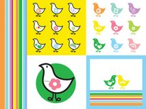 Rainbow retro chicks Royalty Free Stock Photography