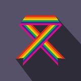 Rainbow ribbon flat icon Stock Photos