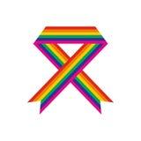 Rainbow ribbon flat icon Royalty Free Stock Image