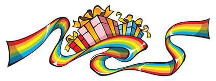 Rainbow ribbon with gifts Royalty Free Stock Photo