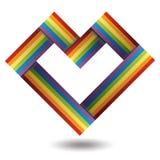 Rainbow ribbon heart Stock Photos