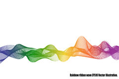 Rainbow ribbon wave isolated. Rainbow ribbon wave on white background. Vector illustration vector illustration