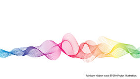 Rainbow ribbon wave isolated. Rainbow ribbon wave on white background. Vector illustration royalty free illustration