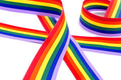Rainbow ribbon. A rainbow ribbon on a white background Royalty Free Stock Photos