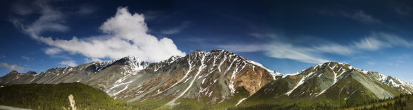 Rainbow Ridge, panoramic, stitched. One of smaller parts of the Great Alaska Range Royalty Free Stock Photography