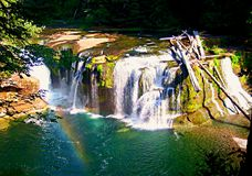 Rainbow on the River. Lower Lewis River Falls - WA stock photo