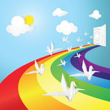Rainbow road in dream and white bird Royalty Free Stock Image