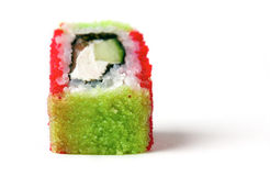 A rainbow roll. A cucumber, some flying fish roe Stock Photo