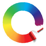 Rainbow roller brush Royalty Free Stock Images