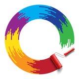 Rainbow roller brush Royalty Free Stock Photos
