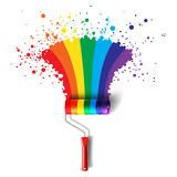 Rainbow roller brush royalty free illustration
