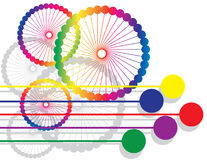 Rainbow Rollers. Wheels and dots with rainbow colors are featured in an abstract background vector illustration Stock Photos